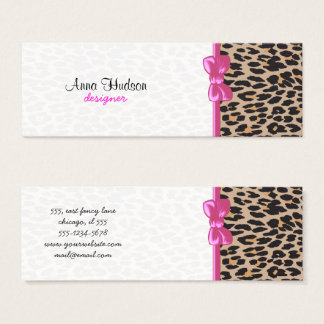 Animal Print, Spotted Leopard - Brown Black Mini Business Card