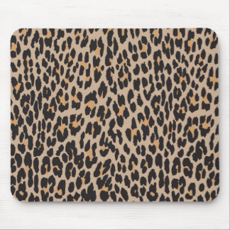 Animal Print, Spotted Leopard - Brown Black Mouse Pad