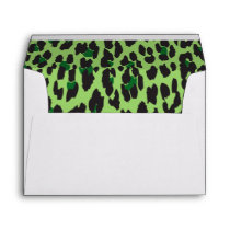 Animal Print, Spotted Leopard - Green Black Envelope