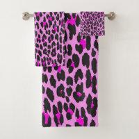 Animal Print, Spotted Leopard - Pink Black Bath Towel Set