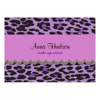 Animal Print, Spotted Leopard - Purple Black Business Card