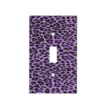 Animal Print, Spotted Leopard - Purple Black Switch Plate Covers