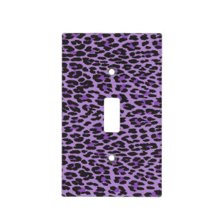 Animal Print, Spotted Leopard - Purple Black Light Switch Cover