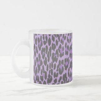 Animal Print, Spotted Leopard - Purple Black Coffee Mugs