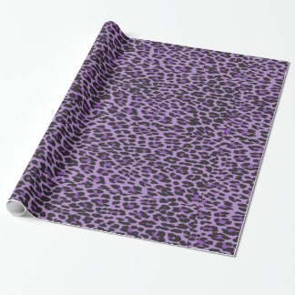 Animal Print, Spotted Leopard - Purple Black Wrapping Paper