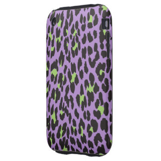 Animal Print, Spotted Leopard - Purple Green iPhone 3 Tough Case