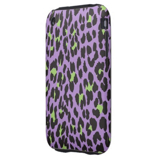 Animal Print, Spotted Leopard - Purple Green iPhone 3 Tough Covers