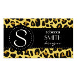Animal Print, Spotted Leopard - Yellow Black Double-Sided Standard Business Cards (Pack Of 100)