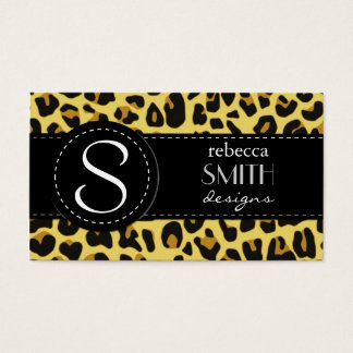 Animal Print, Spotted Leopard - Yellow Black Business Card