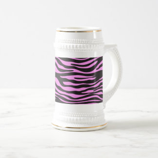Animal Print, Striped Zebra - Black Pink Beer Stein