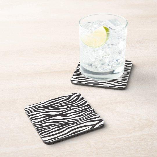 Animal Print, Striped Zebra - Black White Drink Coaster