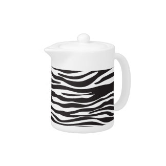 Animal Print, Striped Zebra - Black White Teapot