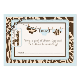 Animal Print Tie Clothesline Diaper Raffle Ticket Large Business Card