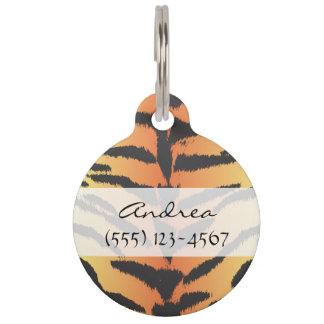 Animal Print, Tiger Stripes - Black Orange Pet Name Tag
