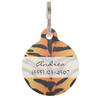 Animal Print, Tiger Stripes - Black Orange Pet Tag