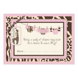 Animal Print Tutu Clothesline Diaper Raffle Ticket Large Business Card