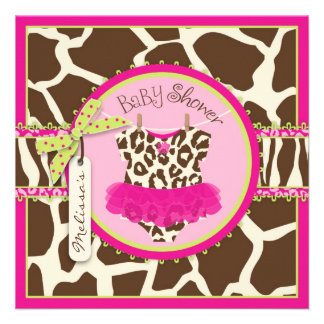 Animal Print Tutu Safari Baby Shower Custom Invitation