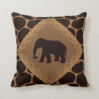 Animal Print with Elephant Silhouette Throw Pillow