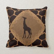 Animal Print with Giraffe Throw Pillow