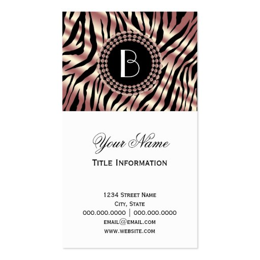 Zebra print business cards templates free 28 images fancy zebra zebra print business cards templates free by animal print zebra pattern and monogram business card reheart Images