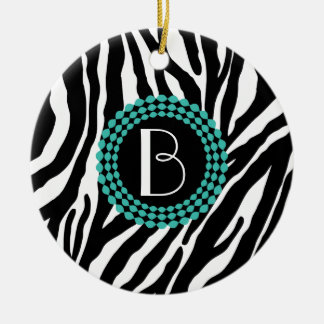 Animal Print Zebra Pattern and Monogram Ceramic Ornament