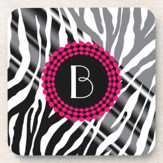 Animal Print Zebra Pattern and Monogram Beverage Coasters