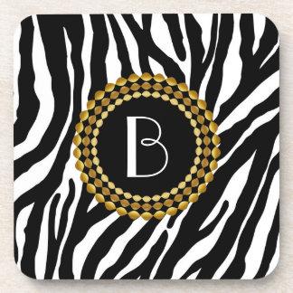 Animal Print Zebra Pattern and Monogram Drink Coasters