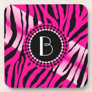 Animal Print Zebra Pattern and Monogram Beverage Coaster