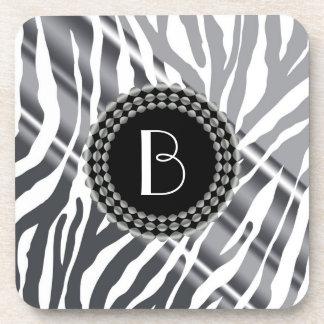 Animal Print Zebra Pattern and Monogram Drink Coaster