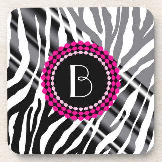 Animal Print Zebra Pattern and Monogram Coasters