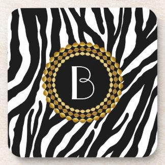 Animal Print Zebra Pattern and Monogram Coaster
