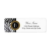 Animal Print Zebra Pattern and Monogram Label