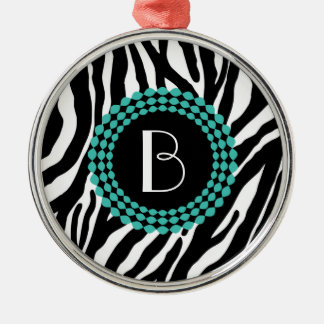 Animal Print Zebra Pattern and Monogram Metal Ornament
