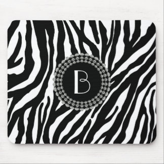 Animal Print Zebra Pattern and Monogram Mouse Pad