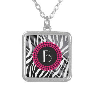 Animal Print Zebra Pattern and Monogram Personalized Necklace