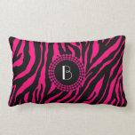 Animal Print Zebra Pattern and Monogram Throw Pillows