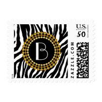 Animal Print Zebra Pattern and Monogram Postage