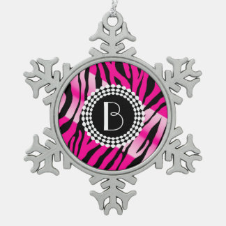 Animal Print Zebra Pattern and Monogram Snowflake Pewter Christmas Ornament