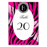 Animal Print Zebra Pattern and Monogram Table Card