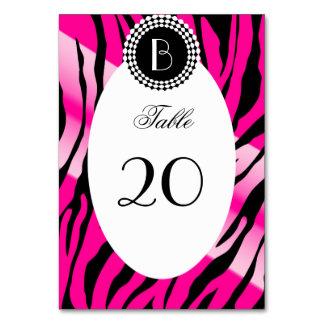 Animal Print Zebra Pattern and Monogram Table Card