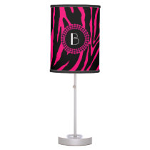 Animal Print Zebra Pattern and Monogram Table Lamp