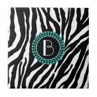 Animal Print Zebra Pattern and Monogram Ceramic Tiles