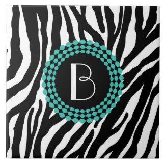 Animal Print Zebra Pattern and Monogram Tile