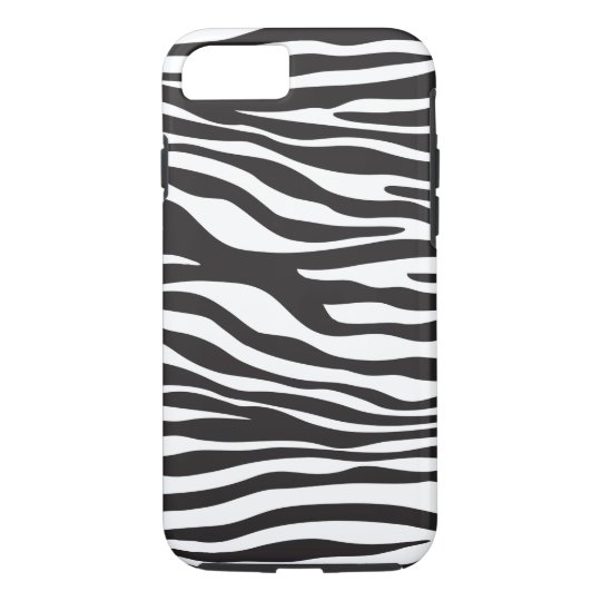Animal Print, Zebra Pattern - Black White iPhone 8/7 Case