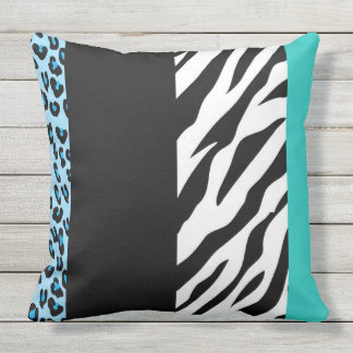 Animal Print, Zebra, Spotted Leopard - Blue Outdoor Pillow