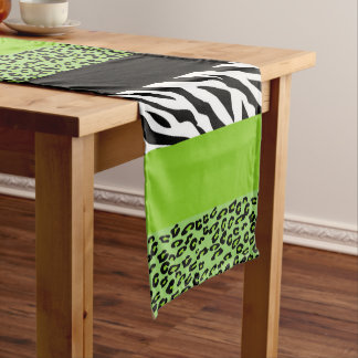 Animal Print, Zebra, Spotted Leopard - Green Medium Table Runner