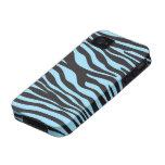 Animal Print, Zebra Stripes - Black Blue iPhone 4/4S Covers