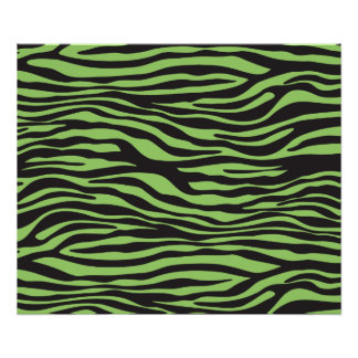 Animal Print, Zebra Stripes - Black Green Poster