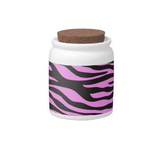 Animal Print Zebra Stripes - Black Pink Candy Jars