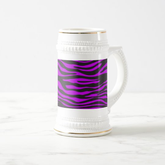 Animal Print, Zebra Stripes - Black Purple Beer Stein